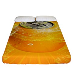 Orange Drink Splash Poster Fitted Sheet (king Size) by Sapixe
