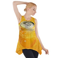 Orange Drink Splash Poster Side Drop Tank Tunic by Sapixe