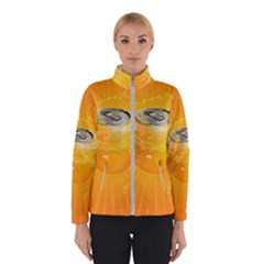 Orange Drink Splash Poster Winter Jacket by Sapixe