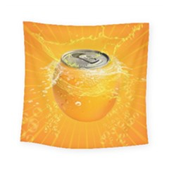 Orange Drink Splash Poster Square Tapestry (small) by Sapixe