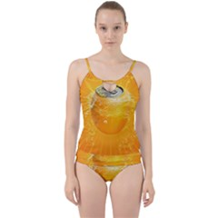 Orange Drink Splash Poster Cut Out Top Tankini Set by Sapixe