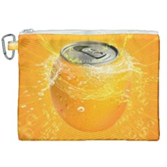 Orange Drink Splash Poster Canvas Cosmetic Bag (xxl) by Sapixe