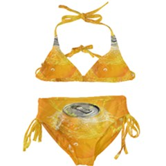 Orange Drink Splash Poster Kids  Classic Bikini Set