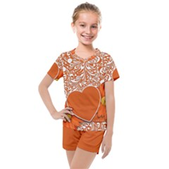 Flower Floral Heart Background Kids  Mesh Tee And Shorts Set