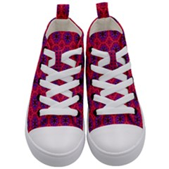 Retro Abstract Boho Unique Kid s Mid Top Canvas Sneakers