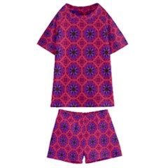 Retro Abstract Boho Unique Kids  Swim Tee And Shorts Set