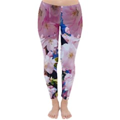Flower Cherry Wood Tree Flowers Classic Winter Leggings by Sapixe