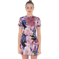 Flower Cherry Wood Tree Flowers Drop Hem Mini Chiffon Dress by Sapixe