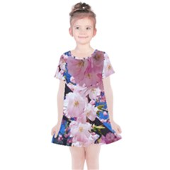 Flower Cherry Wood Tree Flowers Kids  Simple Cotton Dress