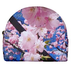Flower Cherry Wood Tree Flowers Horseshoe Style Canvas Pouch by Sapixe