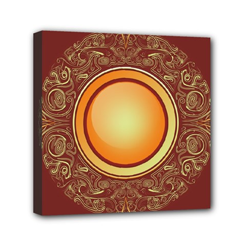 Badge Gilding Sun Red Oriental Mini Canvas 6  X 6  (stretched)