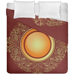 Badge Gilding Sun Red Oriental Duvet Cover Double Side (california King Size) by Sapixe