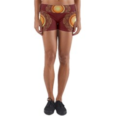Badge Gilding Sun Red Oriental Yoga Shorts