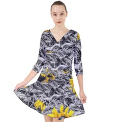 Sunflower Field Girasol Sunflower Quarter Sleeve Front Wrap Dress