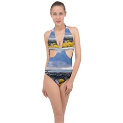 Iceland Nature Mountains Landscape Halter Front Plunge Swimsuit