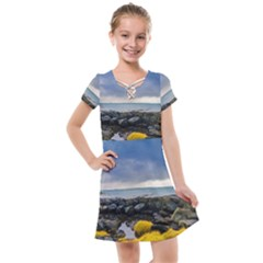 Iceland Nature Mountains Landscape Kids  Cross Web Dress by Sapixe