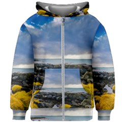 Iceland Nature Mountains Landscape Kids Zipper Hoodie Without Drawstring