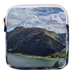 Panoramic Nature Mountain Water Mini Square Pouch by Sapixe