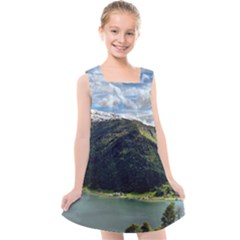 Panoramic Nature Mountain Water Kids  Cross Back Dress by Sapixe