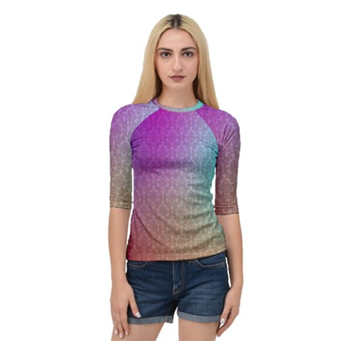 Blue And Pink Colors On A Pattern Quarter Sleeve Raglan Tee by Jojostore