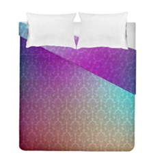 Blue And Pink Colors On A Pattern Duvet Cover Double Side (full/ Double Size)