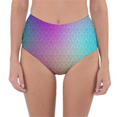 Blue And Pink Colors On A Pattern Reversible High Waist Bikini Bottoms