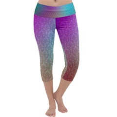 Blue And Pink Colors On A Pattern Capri Yoga Leggings by Jojostore