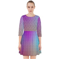 Blue And Pink Colors On A Pattern Smock Dress