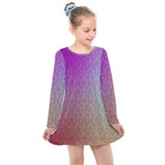 Blue And Pink Colors On A Pattern Kids  Long Sleeve Dress