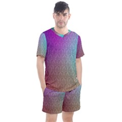 Blue And Pink Colors On A Pattern Men s Mesh Tee And Shorts Set