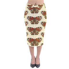 Butterfly Butterflies Insects Velvet Midi Pencil Skirt