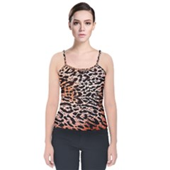 Tiger Motif Animal Velvet Spaghetti Strap Top