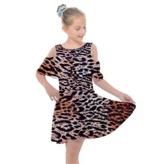 Tiger Motif Animal Kids  Shoulder Cutout Chiffon Dress