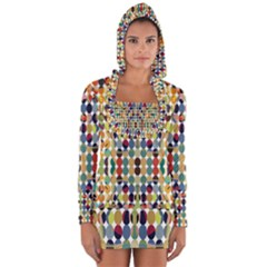 Retro Pattern Abstract Long Sleeve Hooded T Shirt