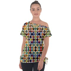 Retro Pattern Abstract Tie Up Tee by Jojostore