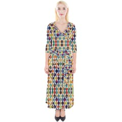 Retro Pattern Abstract Quarter Sleeve Wrap Maxi Dress by Jojostore