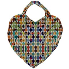Retro Pattern Abstract Giant Heart Shaped Tote by Jojostore
