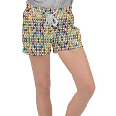 Retro Pattern Abstract Women s Velour Lounge Shorts