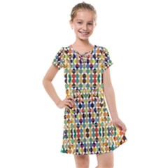 Retro Pattern Abstract Kids  Cross Web Dress