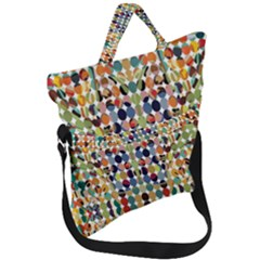 Retro Pattern Abstract Fold Over Handle Tote Bag by Jojostore