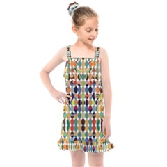 Retro Pattern Abstract Kids  Overall Dress