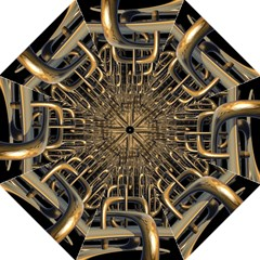 Fractal Image Of Copper Pipes Folding Umbrellas
