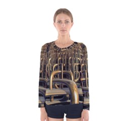 Fractal Image Of Copper Pipes Women s Long Sleeve Tee by Jojostore