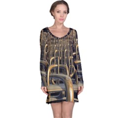 Fractal Image Of Copper Pipes Long Sleeve Nightdress