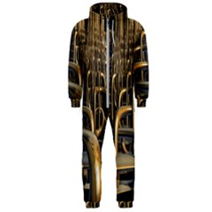 Fractal Image Of Copper Pipes Hooded Jumpsuit (men)  by Jojostore