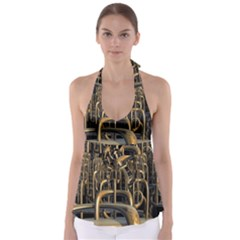 Fractal Image Of Copper Pipes Babydoll Tankini Top