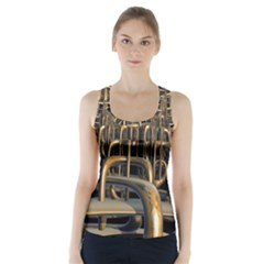 Fractal Image Of Copper Pipes Racer Back Sports Top