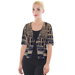Fractal Image Of Copper Pipes Cropped Button Cardigan by Jojostore