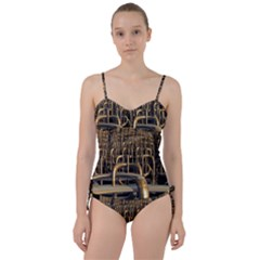 Fractal Image Of Copper Pipes Sweetheart Tankini Set