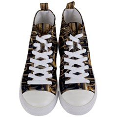 Fractal Image Of Copper Pipes Women s Mid Top Canvas Sneakers